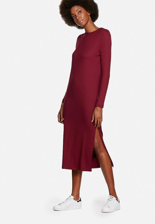 e6507e0556da Ribbed midi dress - burgundy Native Youth Casual