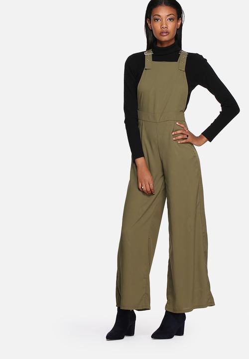 4dd54e82772a Buckle detail wide leg dungarees - khaki Lola May Jumpsuits ...