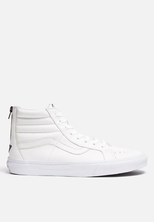 84c0524f393165 Vans SK8-Hi Reissue Zip Premium Leather - True White   Black Vans ...