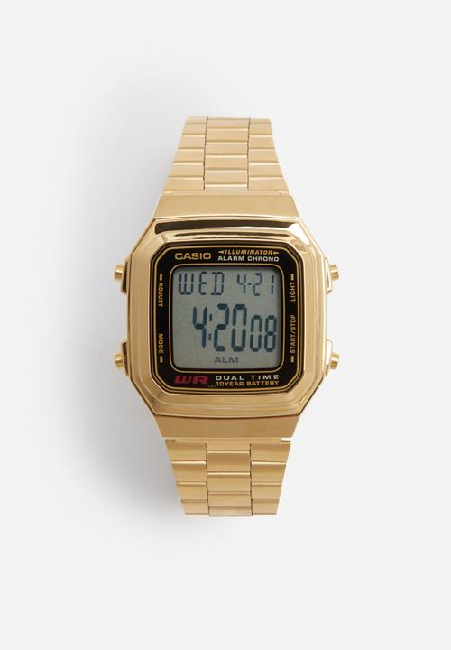 622a2baabcdb Wide LCD backlight watch - gold Casio Watches