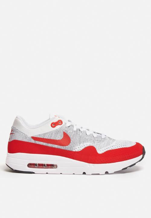 9c1d672439 Nike AM1 Ultra Flyknit - 843384-101 - Wht / University Red / Cool ...