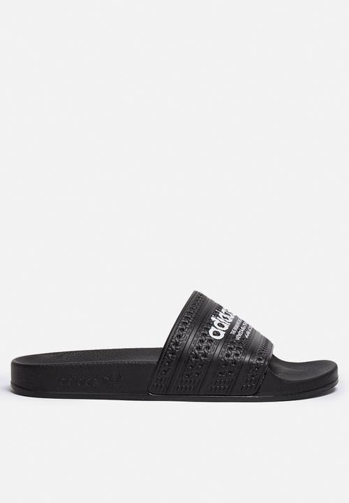 04cc1fa23767 adidas Originals adilette Slides - S78689 - Black   White adidas ...
