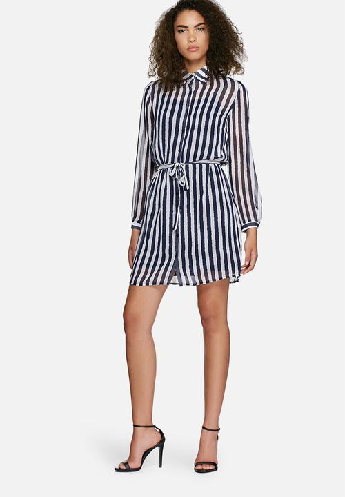 b6f28648a4 Chane striped shirt dress - navy   white dailyfriday Casual ...
