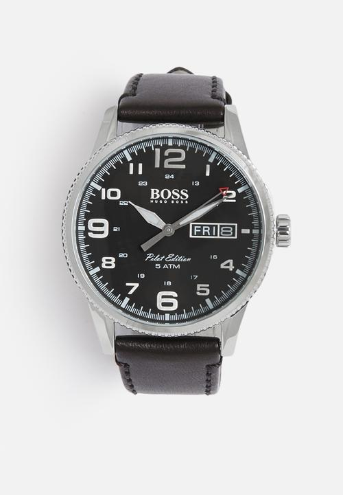 41ed4af9d Pilot - leather strap - black and silver Hugo Boss Watches ...