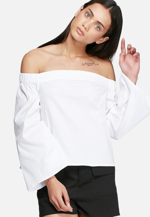 a023e0dce081b Off shoulder top - white Glamorous Blouses