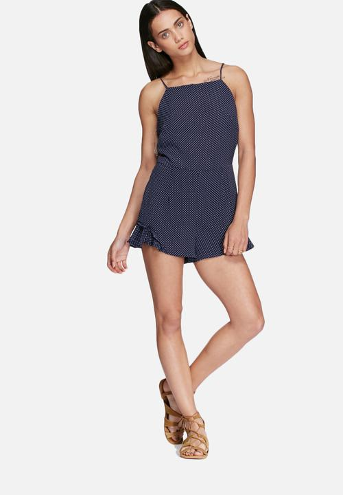 a0f2ce30fa19 Polka-dot playsuit - navy Glamorous Jumpsuits   Playsuits ...