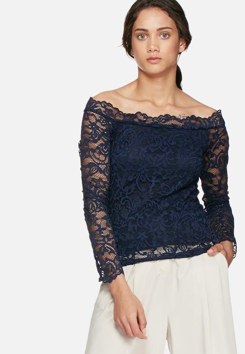 216442f5ac51d Coco lace off shoulder top - black iris Vero Moda Blouses ...