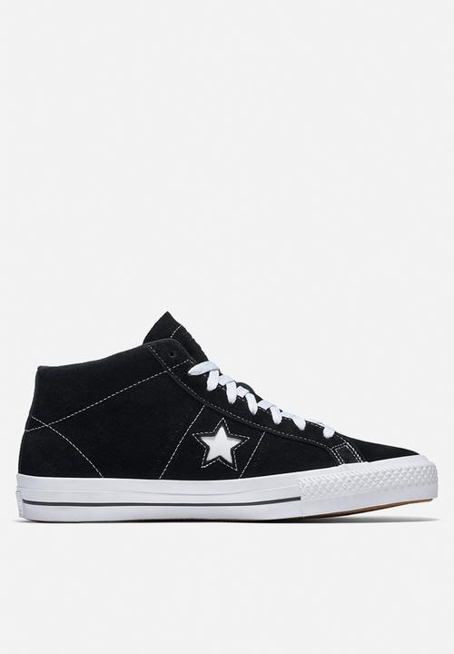 5191e4a2f9b7 Converse One Star Pro Mid Suede - Black   White Converse Sneakers ...