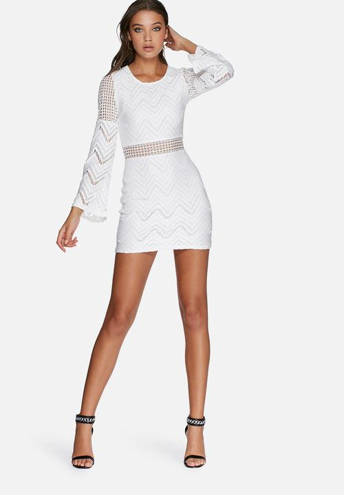 f4d3f8ae1ec5a Crochet lace cut out bodycon dress - white Missguided Casual ...