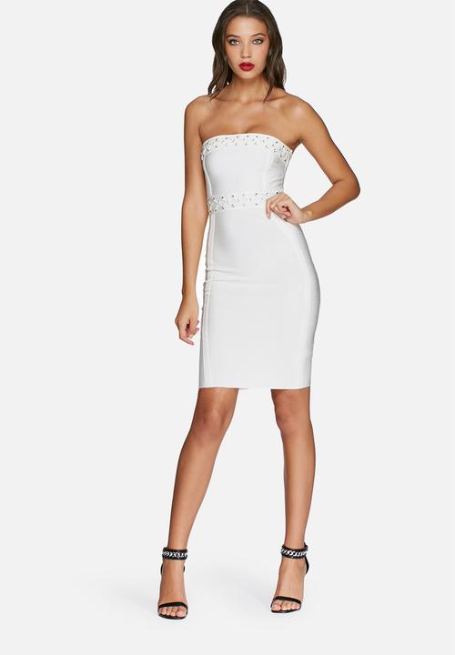 655f06ea08e9 Eyelet bandeau midi dress - white Missguided Occasion | Superbalist.com