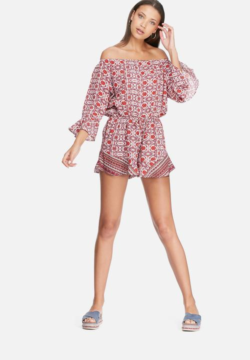 ab7840ac80ec Playsuit - red print dailyfriday Jumpsuits   Playsuits