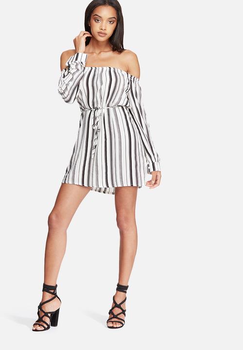 348c4874410a Stripe woven bardot shift dress - white Missguided Casual ...