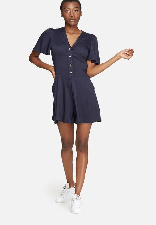 53954bd61494 V-neck button up playsuit - navy dailyfriday Jumpsuits   Playsuits ...