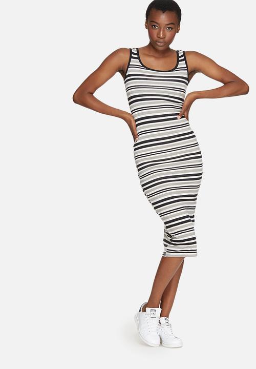 7e71e992a5b6 Striped midi vest dress - black   white stripe dailyfriday Casual ...
