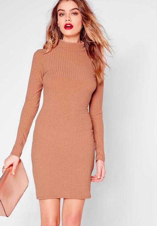 389d740c6e50 High-neck bodycon dress - camel Missguided Casual