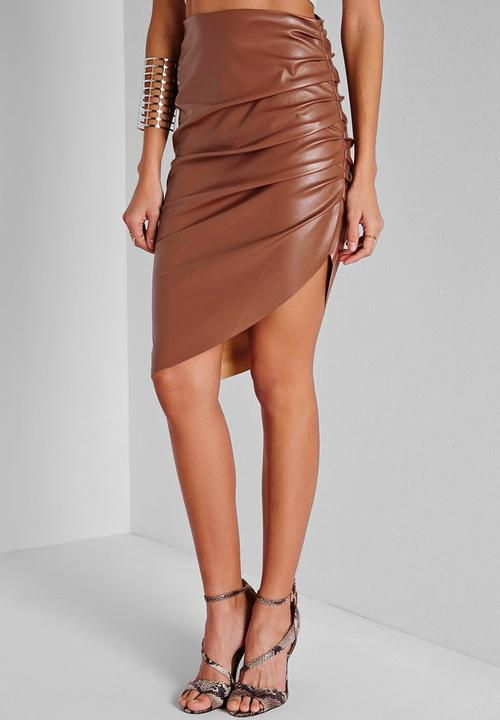 6d790d475 Faux Leather Ruched Asymmetric Midi Skirt - Terracotta Missguided ...