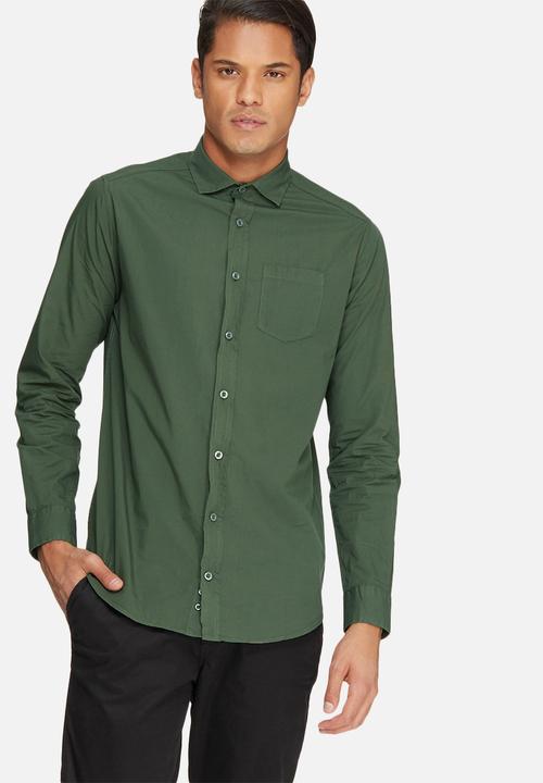 2cad64e08130e6 Plain long sleeve poplin shirt - fatigue poplin basicthread Shirts ...