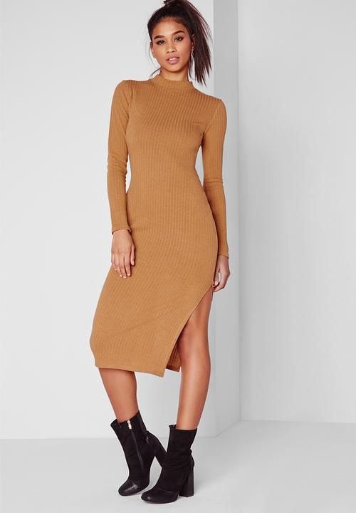 744935d2c0 Long sleeve midi dress - camel rib Missguided Casual