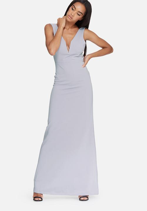 V plunge maxi dress - grey Missguided Occasion  608c8bfc1
