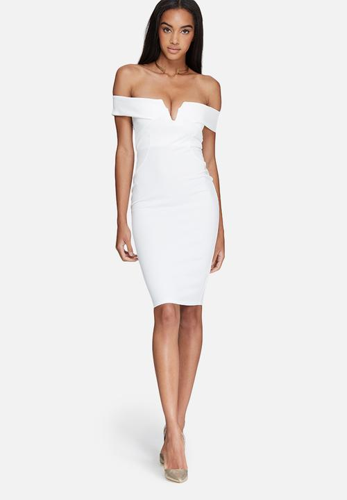 V-neck bardot midi dress - white Missguided Occasion  e241b59ce