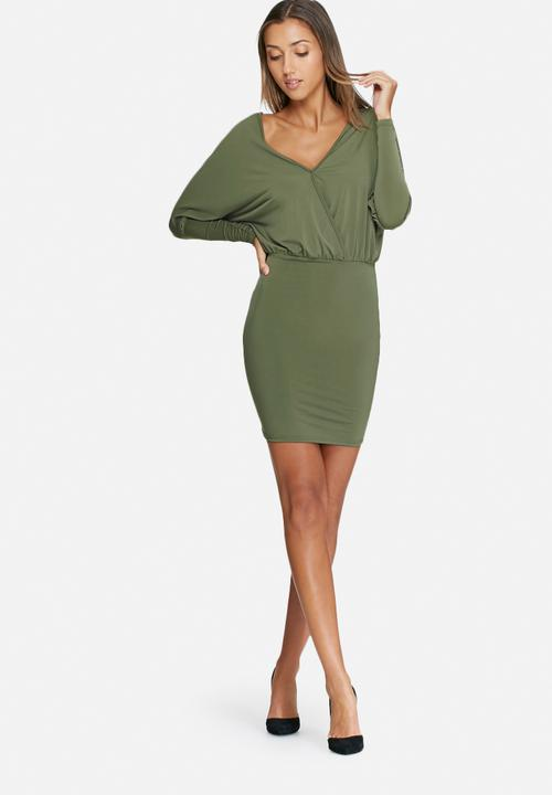 0cbecc8019cd Long sleeve v-neck bodycon dress - khaki dailyfriday Occasion ...