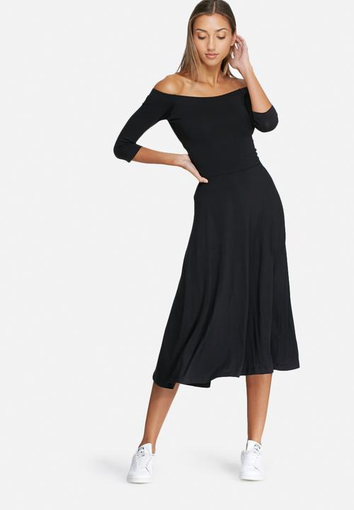 09bc796d2d3a Wrap back ballerina sleeve midi dress - black dailyfriday Casual ...