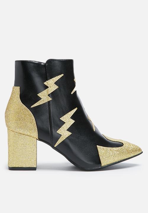 Daisy Street Lightning Boot Black & Gold Glitter
