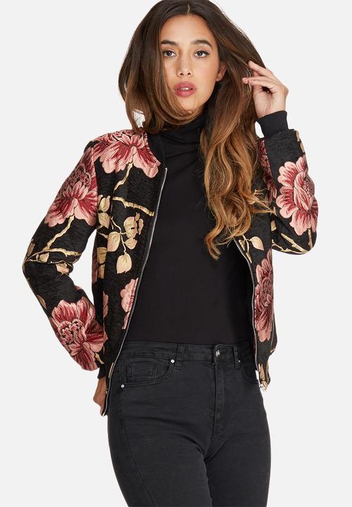 8e486c847e3 Premium jacquard floral bomber jacket - black Missguided Jackets ...