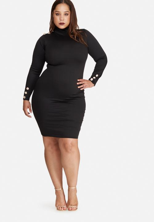 8e1f7405e4 Plus size long sleeve button dress - black Missguided Occasion ...