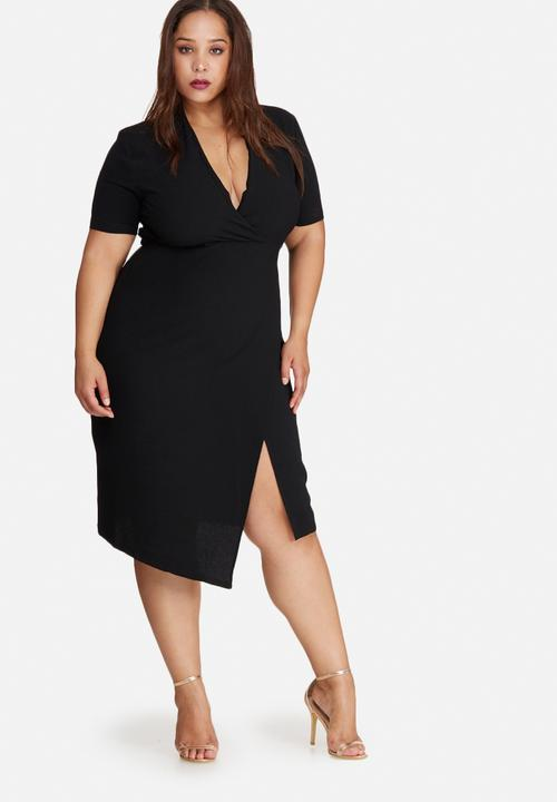 5a1557b60c2 Plus size wrap midi dress - black Missguided Dresses