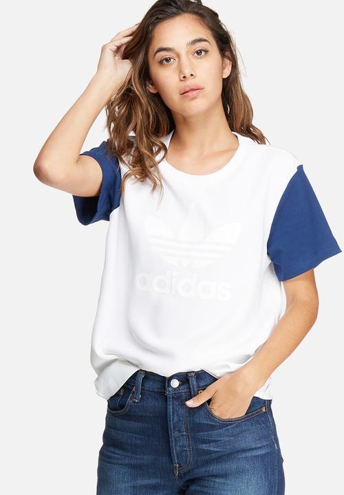 e0175ab3 Boyfriend trefoil tee - white blue adidas Originals T-Shirts ...