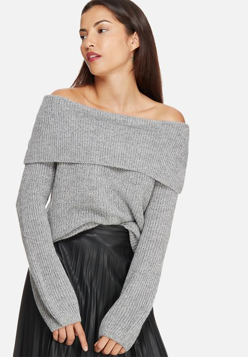 0e294f5fa76 Ida off shoulder top - medium grey melange Vero Moda Knitwear ...