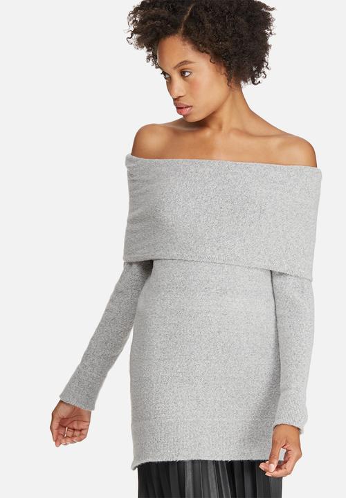 5574890901a2da Off shoulder tunic - light grey melange dailyfriday Knitwear ...