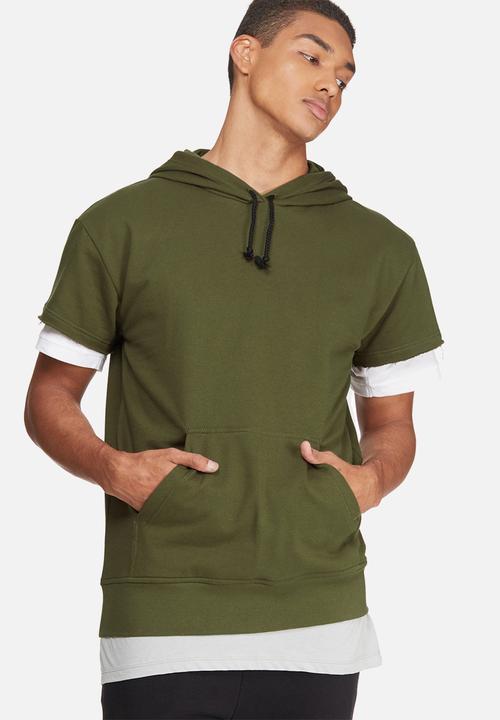 93922ea1e Cap sleeve pullover hoodie- olive green basicthread Hoodies & Sweats ...