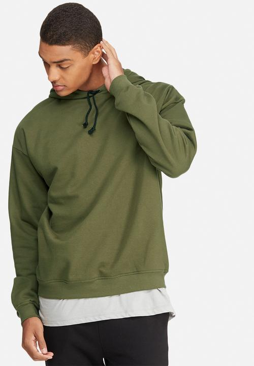 b9fcd2c38 Oversized drop shoulder pullover hoodie sweat - olive basicthread ...