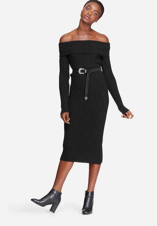 7e3b92d59ef Ribbed knit off shoulder dress - black dailyfriday Casual ...
