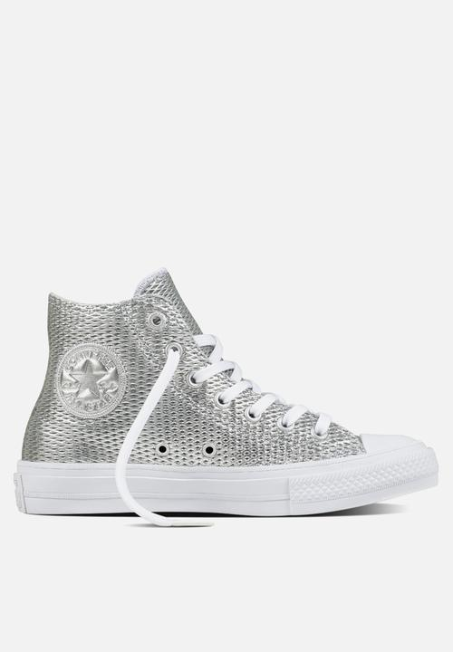 d930032d3711 Chuck Taylor All Star II Hi Perf Leather - 555798C - Silver White ...