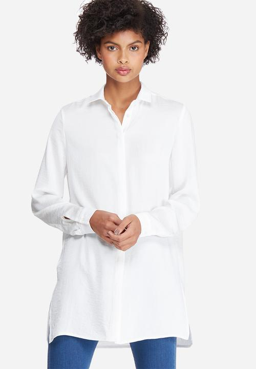 Silky longer length shirt - white dailyfriday Shirts  3a9086316a2