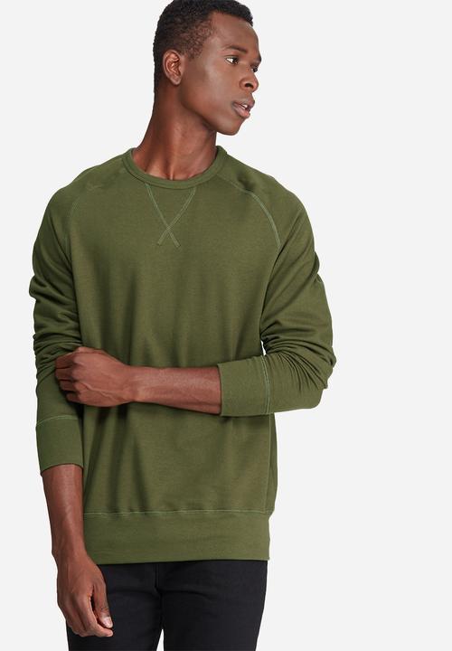 ccd1c773f KVL Basic pullover crew sweat- olive green basicthread Hoodies ...