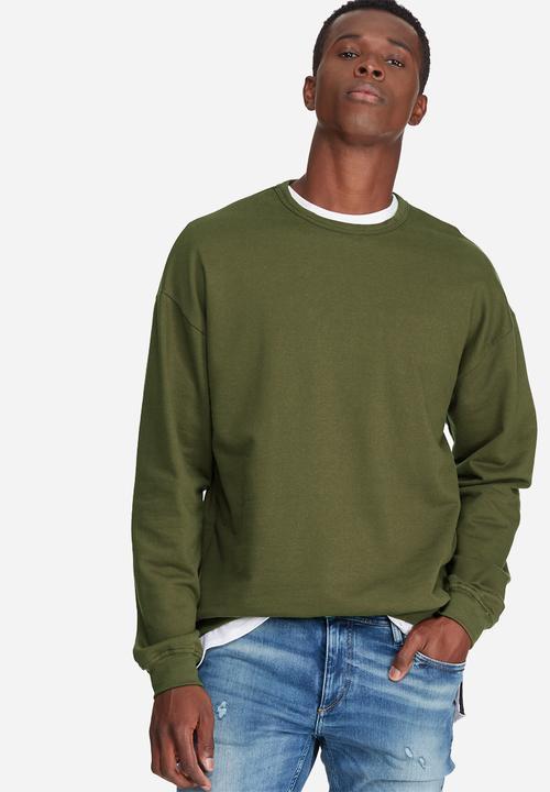 d8d53aa69 Oversized drop shoulder pullover crew sweat - olive green ...