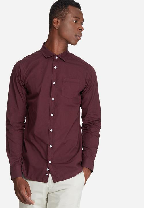 45939638160f73 Plain long sleeve poplin shirt/ burgundy basicthread Shirts ...