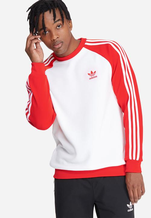 Sst Crew White Core Red Adidas Originals Hoodies Sweats Jackets