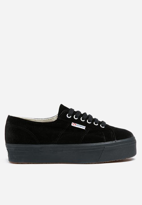 06ca18364bb26 Superga 2790 VelvetW Full Velvet Wedge - Black SUPERGA Sneakers ...