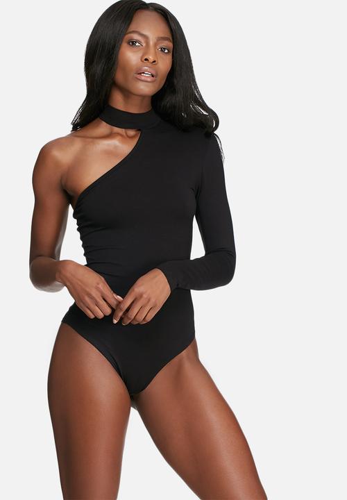 fc55ab5144 One shoulder choker bodysuit - black dailyfriday T-Shirts
