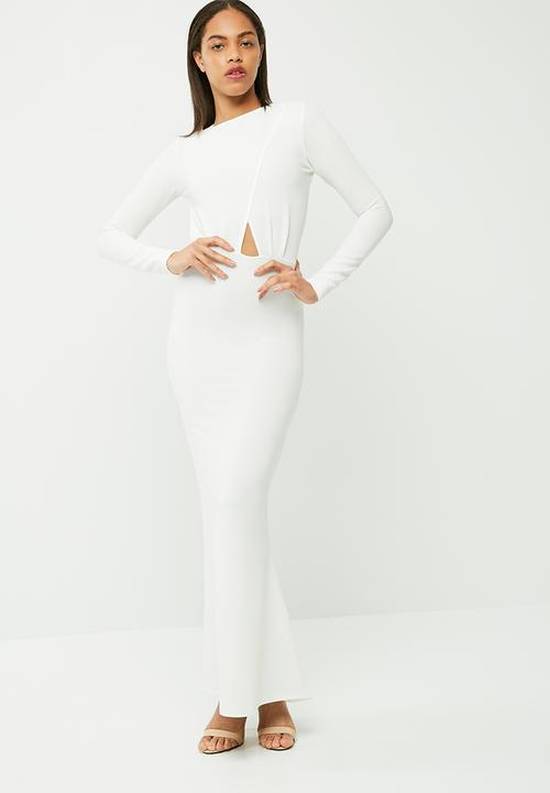 c47c04ede36 Long sleeve backless maxi dress - white Missguided Occasion ...