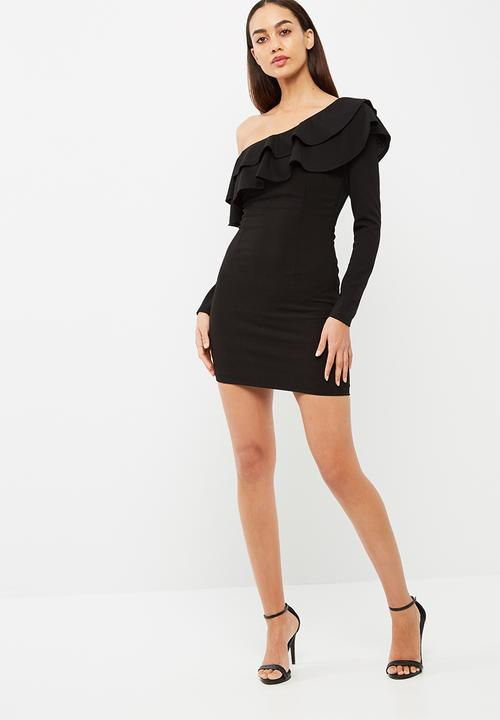 Frill Off The Shoulder Bodycon Dress Black Missguided Occasion