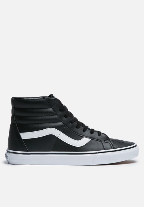 9ba4a1f7639 Vans SK8-Hi Reissue Leather Tumble - Black / True White Vans ...