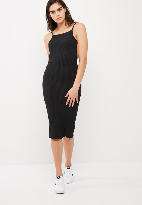 e73e219118b2 Square neck ribbed open back midi dress - black Missguided Occasion ...