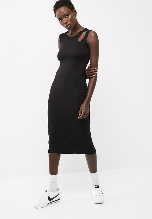 c1ba66bb Midi vest dress with cut out detail - black dailyfriday Casual ...