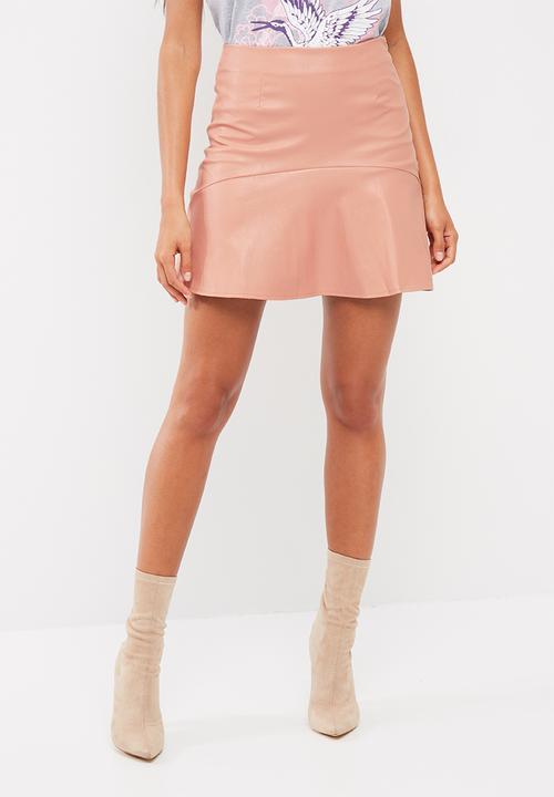 07338cef3 Frill hem faux leather mini skirt - pink Missguided Skirts ...